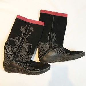 PUMA MONSOON BLACK RED EMBROIDERED LEATHER BOOT